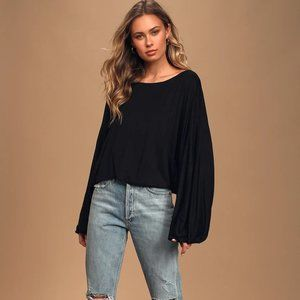 Lulu's All Attention Black Batwing Sleeve Top